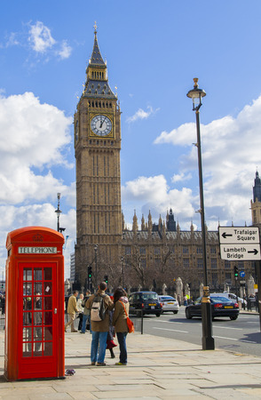 big ben and telephone cabine in London Britain Editorial