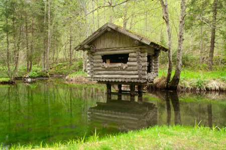 The water house and its reflection - between the trees
