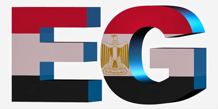 3d Standard Country Code Letters - Abbreviation Standart Code - Egypt Stock Photo