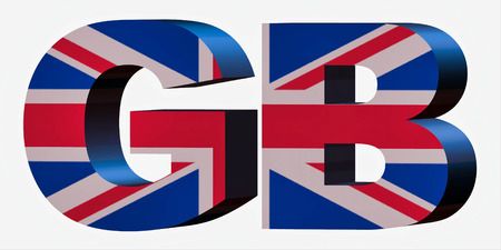 3d Standard Country Code Letters - Abbreviation Standart Code - United Kingdom / Great Britain / England Stok Fotoğraf