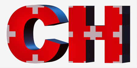 3d Standard Country Code Letters - Abbreviation Standart Code - Switzerland