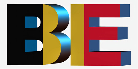 3d Standard Country Code Letters - Abbreviation Standart Code - Belgium