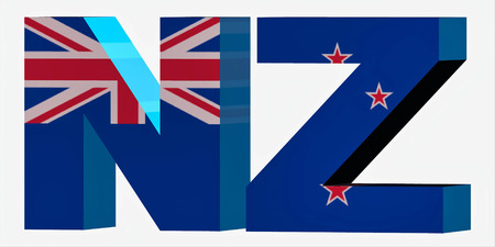 3d Standard Country Code Letters - Abbreviation Standart Code - New Zealand