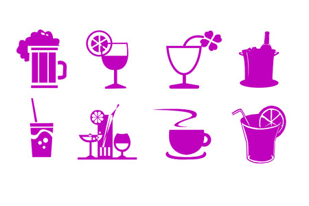 illustration with drinks - wine, coffee, lemonade, juice, straw , lemon, glass, cup carafe of wine Foto de archivo - 111283209