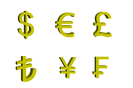 3D Set Illustrations with Gold Monetary Symbols - Euro, Dollar, Pound, Yen, Franc