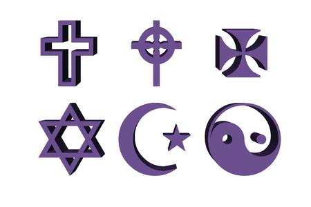 3d illustration, religious symbols - cross, yang, yin, lilac Stock Photo