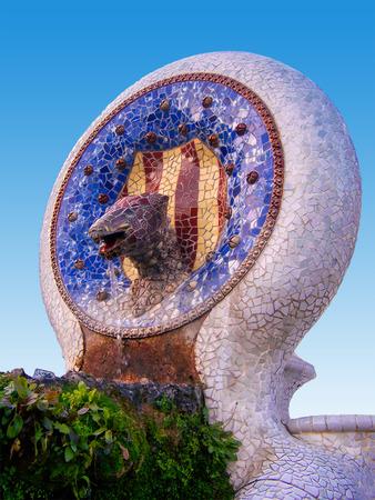 Antoni Gaudi park Guell - fountain, architecture Spain, Barcelona