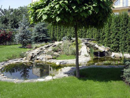 double lake in a beautiful garden Stock Photo
