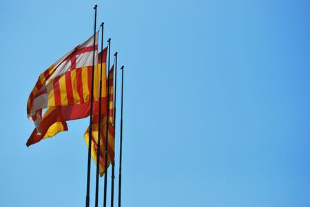 3 flags from spain: spain catalunya and barcelona Stock Photo