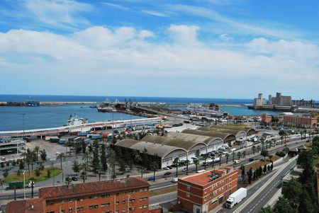 General view of harbor of Barcelona photo