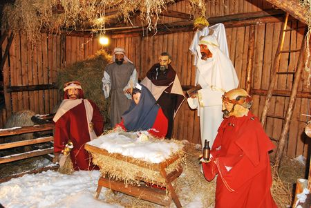 Details of nativity scene with stable photo