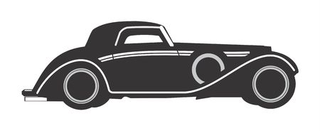 Vector illustration with retro black and white car  Vector
