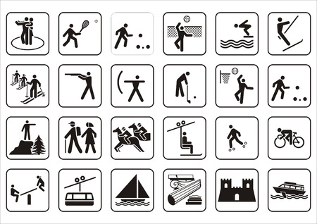 Sports signs on a white isolated background Illustration