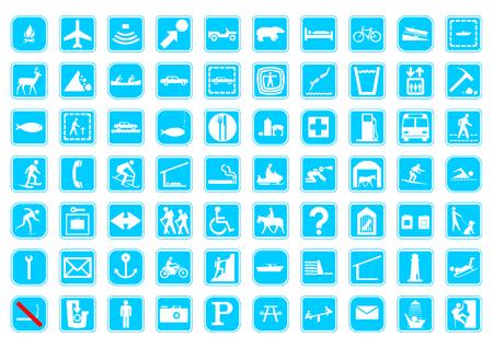 70 de signos de viajes, sobre un fondo aislado