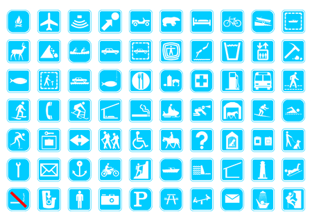 boat icon: 70 travel signs on a isolated background