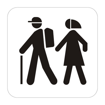 Sport sign - walkng tourists Stock Photo
