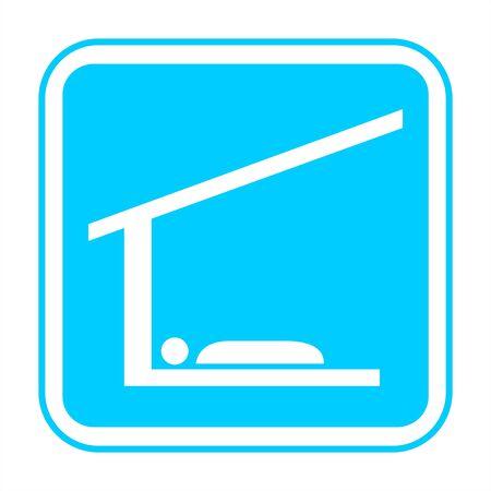 Blue tourism sign