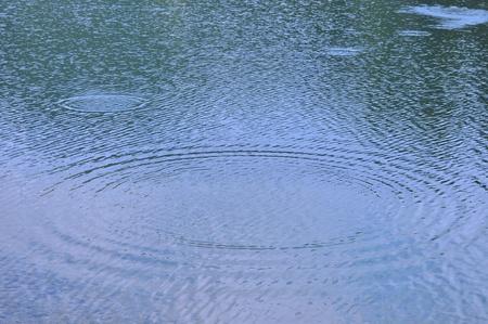 rain drops in lake Stock Photo