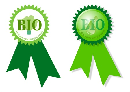 bioenergy: Two bio labels Stock Photo