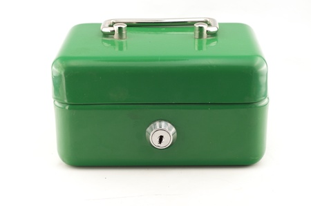 green cash box on white background
