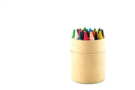 color pencils in cardboard box