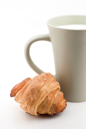 Breakfast - cup of milk and croissant