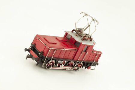 red electric locomotive isolated