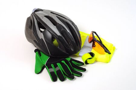 Protective Safety Equipment for Cyclists on white background