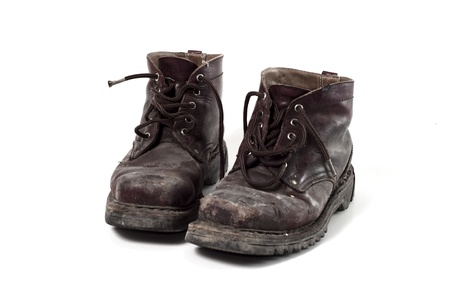 men's shoes: old army boots Stock Photo