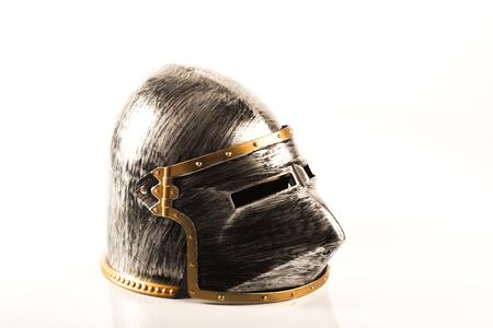 Medieval war helmet over a white background Stok Fotoğraf