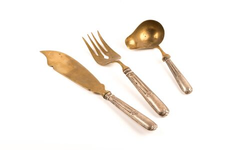 vintage silver set of knife fork and spoon for sauces and salads
