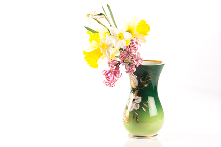 Decorated Flower Vase With Spring Flowers Inside Stock Photo
