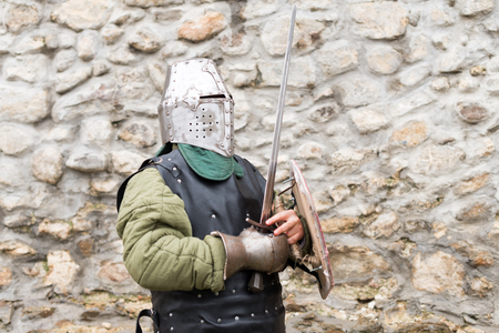 medieval knight training for battle in a fort Stock Photo
