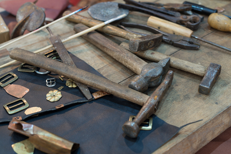 metalsmith tablewith tools in a workshop Stock Photo