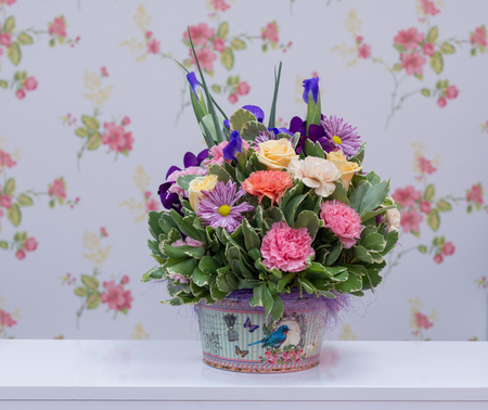 Colorful flowers arrangement in a box Stock Photo
