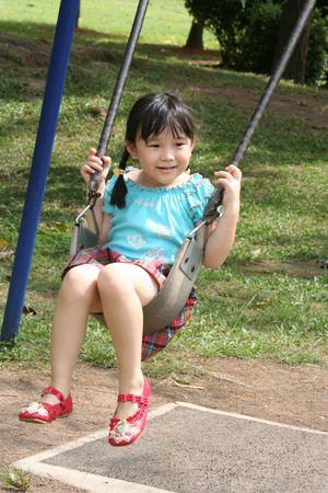 Girl on the swing photo