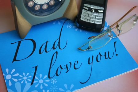 mobilephone: card & love message for fathers day Stock Photo