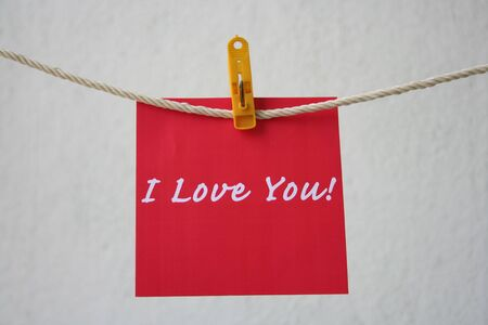 Love note hanging on the string, photo