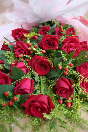 andamp: bunch of red roses wrapped in white andamp,amp, red