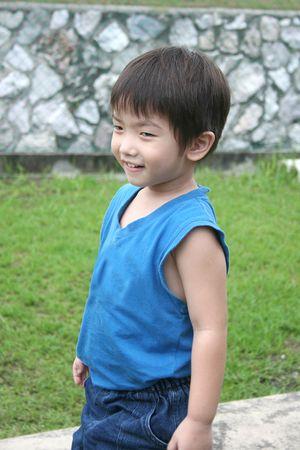 singlet: Little boy in blue singlet