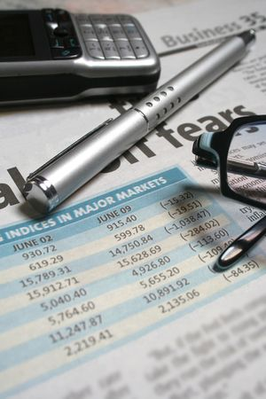 budgets: close-up of stocks figures Stock Photo