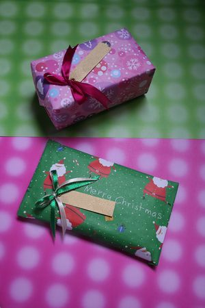 Presents wrapped with christmas wrappers photo