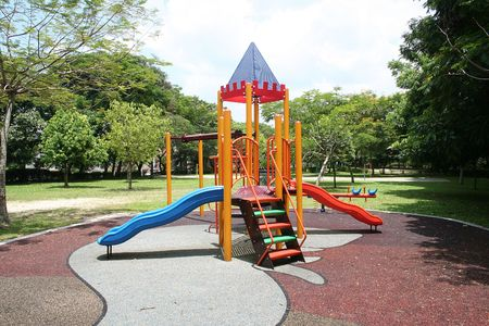 Beautiful and colorful playground on a quiet sunny day photo