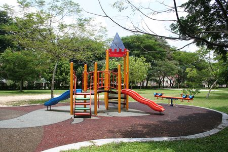 Beautiful and colorful playground on a quiet sunny day Stock Photo - 792147