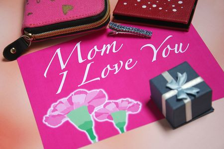 Pink Mothers Day card with love message & carnation and purse photo