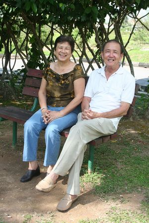 Senior couple sitting on the bench in the park