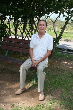 Old man sitting on the bench in the park photo