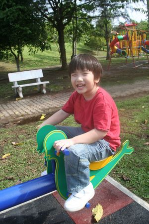 Happy boy playing seesaw at the playground in the park photo