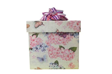 closed ribbon: 2d gift box with flowers and butterflies print