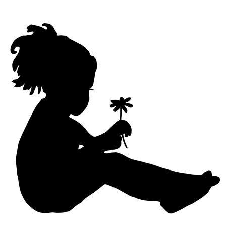 Silhouette di un bambino con la camomilla